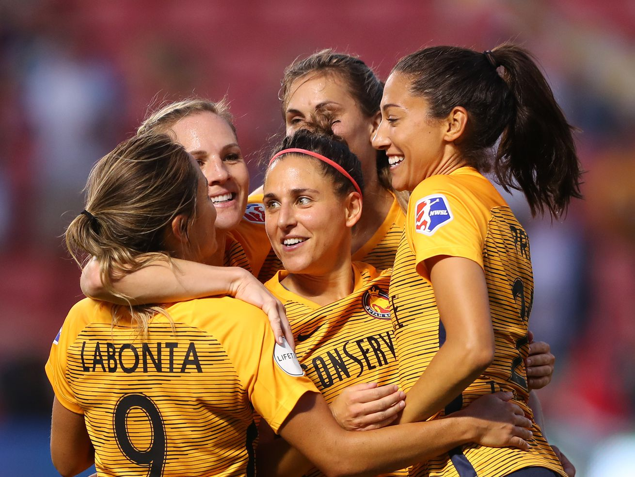 Royals players celebrate after a goal by Utah Royals FC forward Christen Press (23) as the Salt Lake Royals and Sky Blue FC play at Rio Tinto Stadium in Sandy on Wednesday, Aug. 7, 2019.