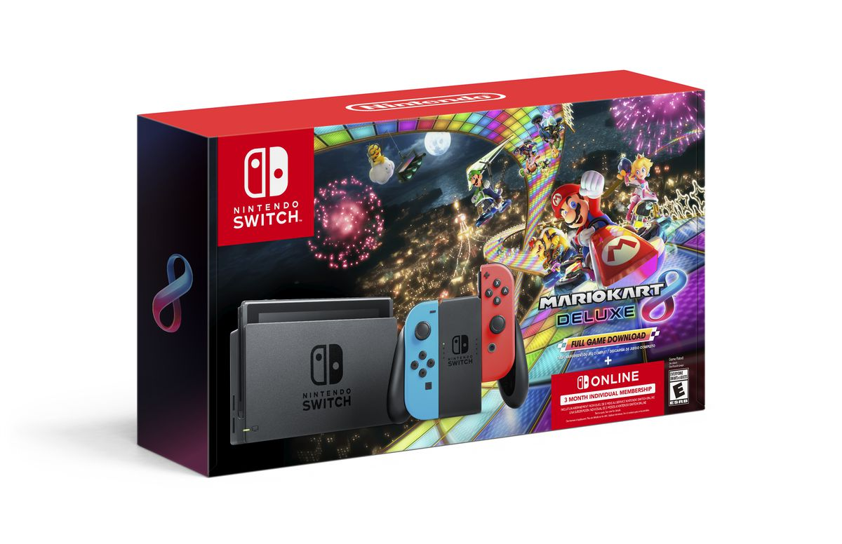 A product shot of the Nintendo Switch Mario Kart 8 Deluxe bundle