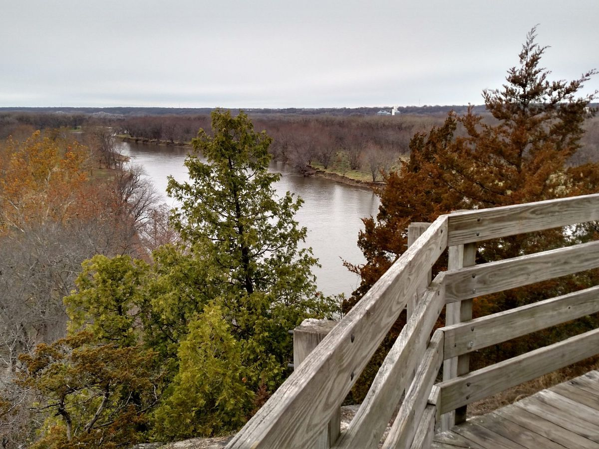 Looking downriver at Plum Island from Starved Rock at Starved Rock State Park.