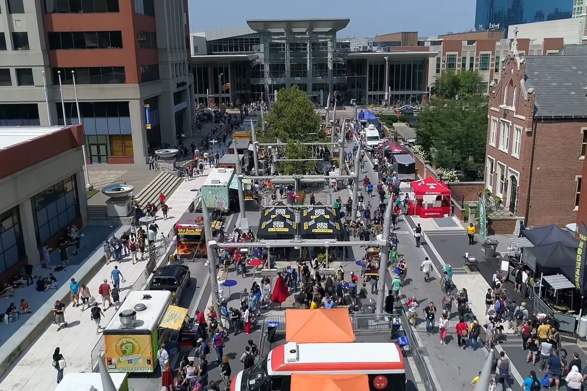 A drone view of the food carts at Gen Con in Indianapolis.