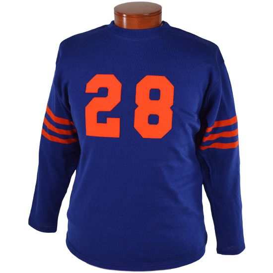 A blue and orange 1940s style football jersey