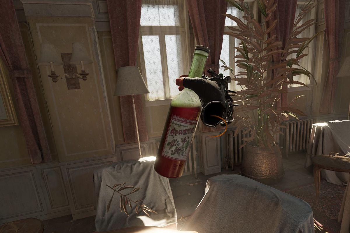 A screenshot of Half-Life Alyx showing off bottle liquid shaders