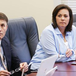 House Speaker Becky Lockhart and Nathan Andelin listen during Utah Legislature Education Task Force curriculum demonstrations at the state Capitol in Salt Lake City Tuesday, July 22, 2014.