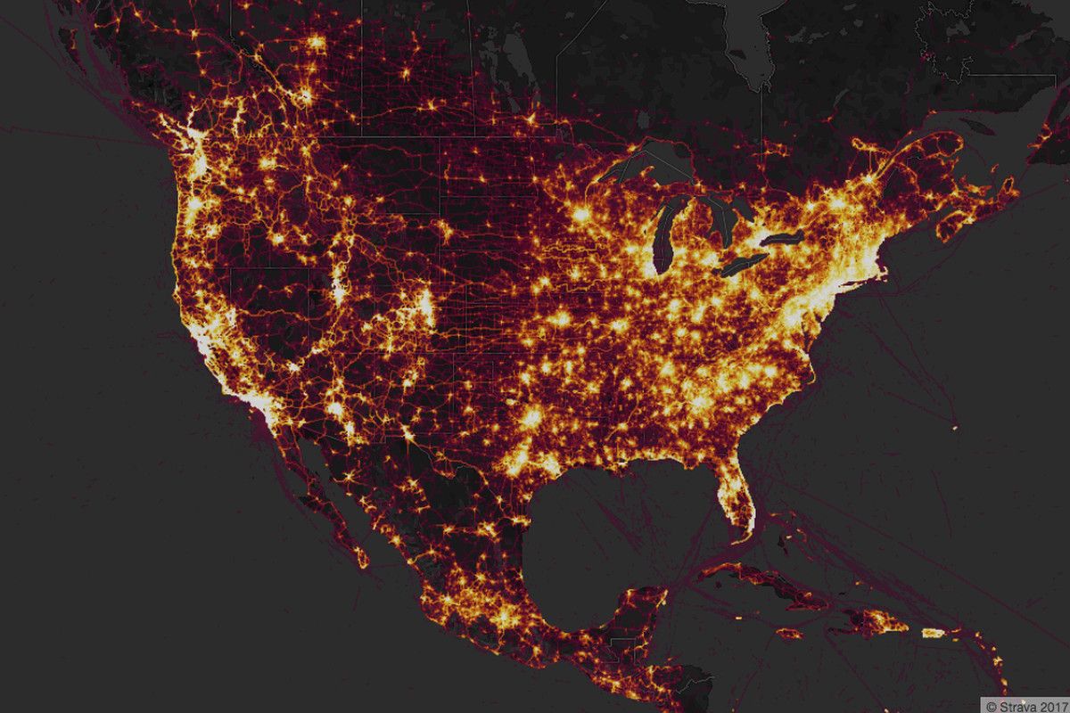 Strava user heatmap reveals patterns of life in western military bases