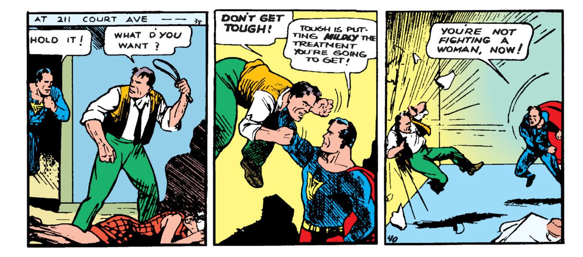 Superman stops a predatory man from beating up his wife
