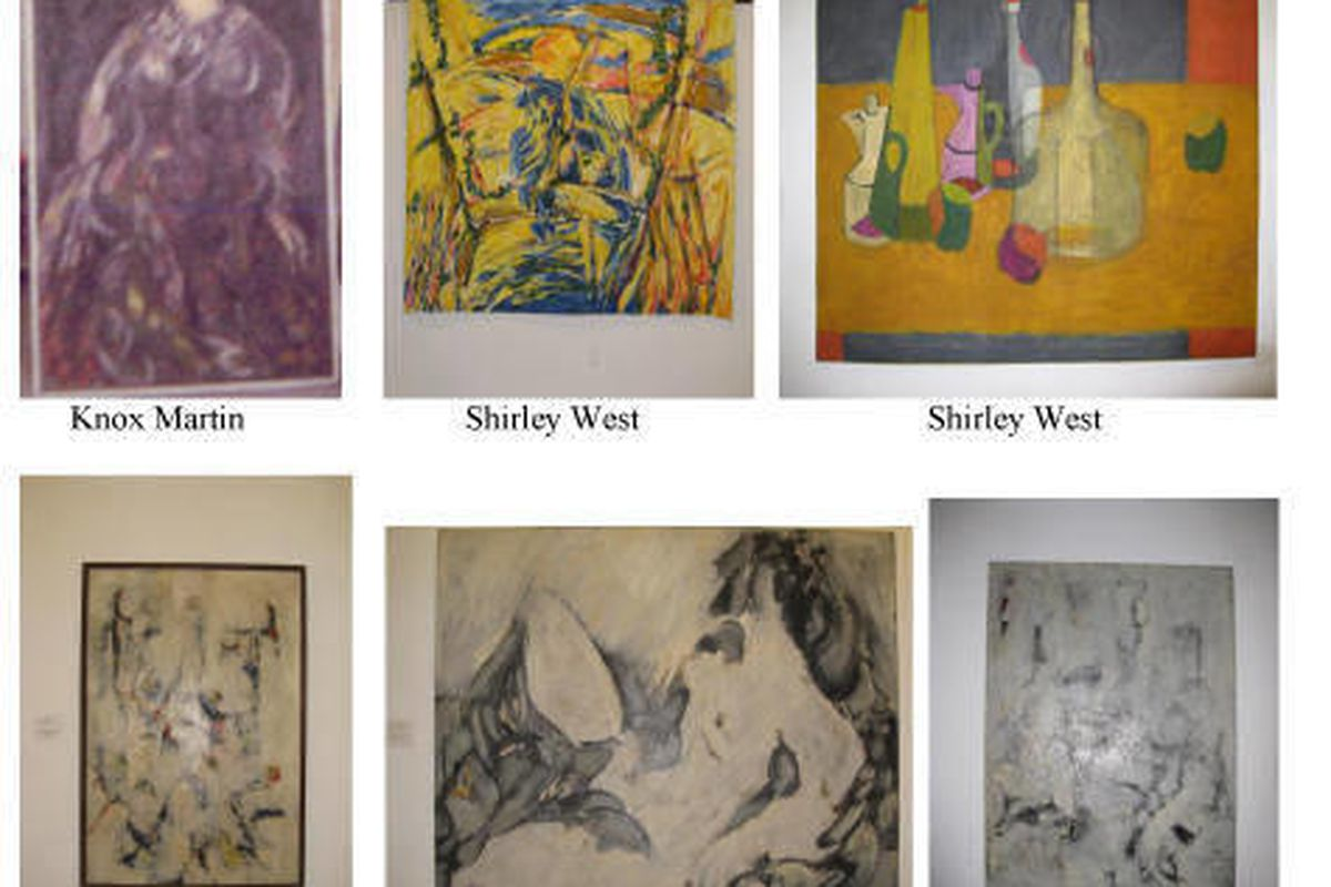 """In this undated photo provided Robert Wittman Inc., a poster showing the stolen paintings of artist Shirley West is shown. Mihaly """"Mike"""" Kovacsezics, a New York City building superintendent who exploited residents' trust to steal thousands of dollars' wor"""