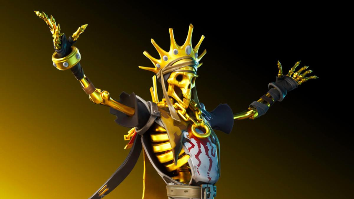 A golden skull skin in Fortnite.