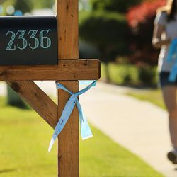 A blue ribbon blows in the breeze as community members gather to tie ribbons and write messages to the Rackley family and first responders of the murder-suicide along Alta Canyon Drive in Sandy on Saturday, June 10, 2017.