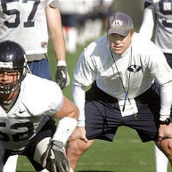 Now: Bronco Mendenhall at a March 2005 practice.