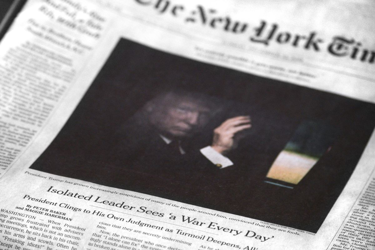 An image of the New York Times front page.