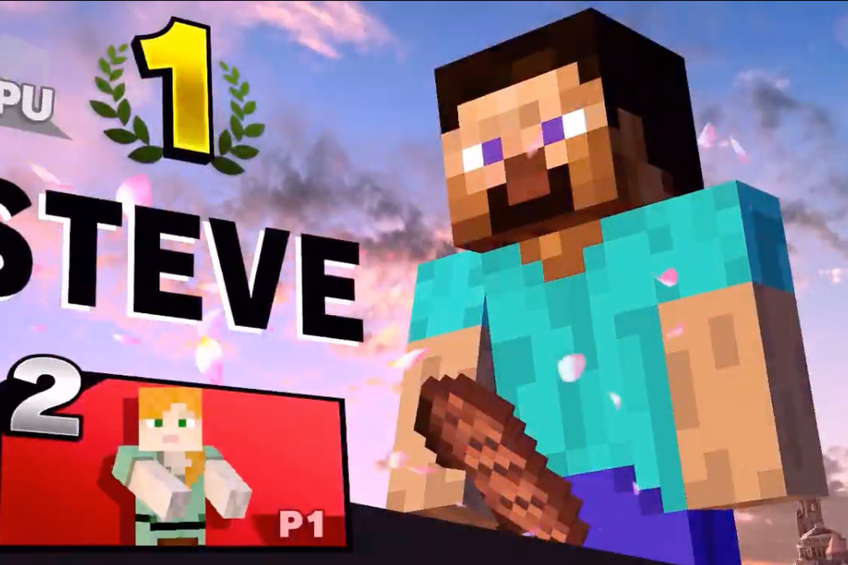 framegrab of Minecraft Steve's victory screen showing suggestive placement of his pickaxe