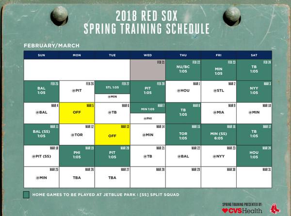 Annabessonova Red Sox Spring Training 2018 Printable Schedule