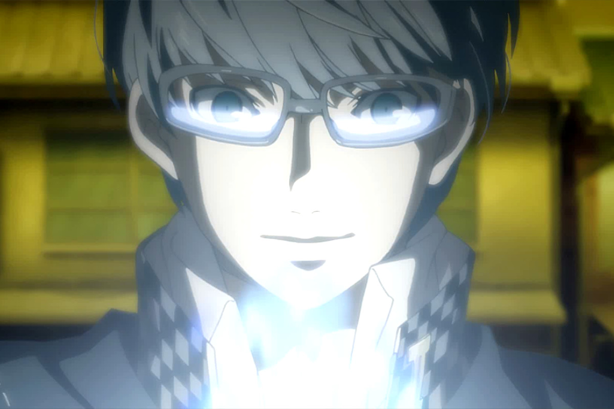 The main character of Persona 4 Golden glows with energy while wearing special eyeglasses