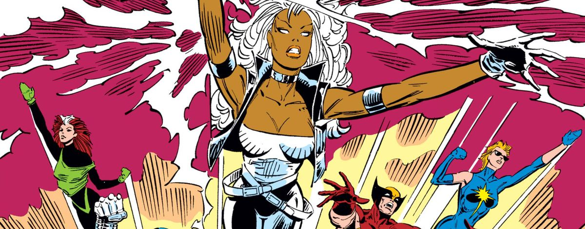 Storm and other X-Men leap through the air, from the cover of Uncanny X-Men #227, Marvel Comics (1988).