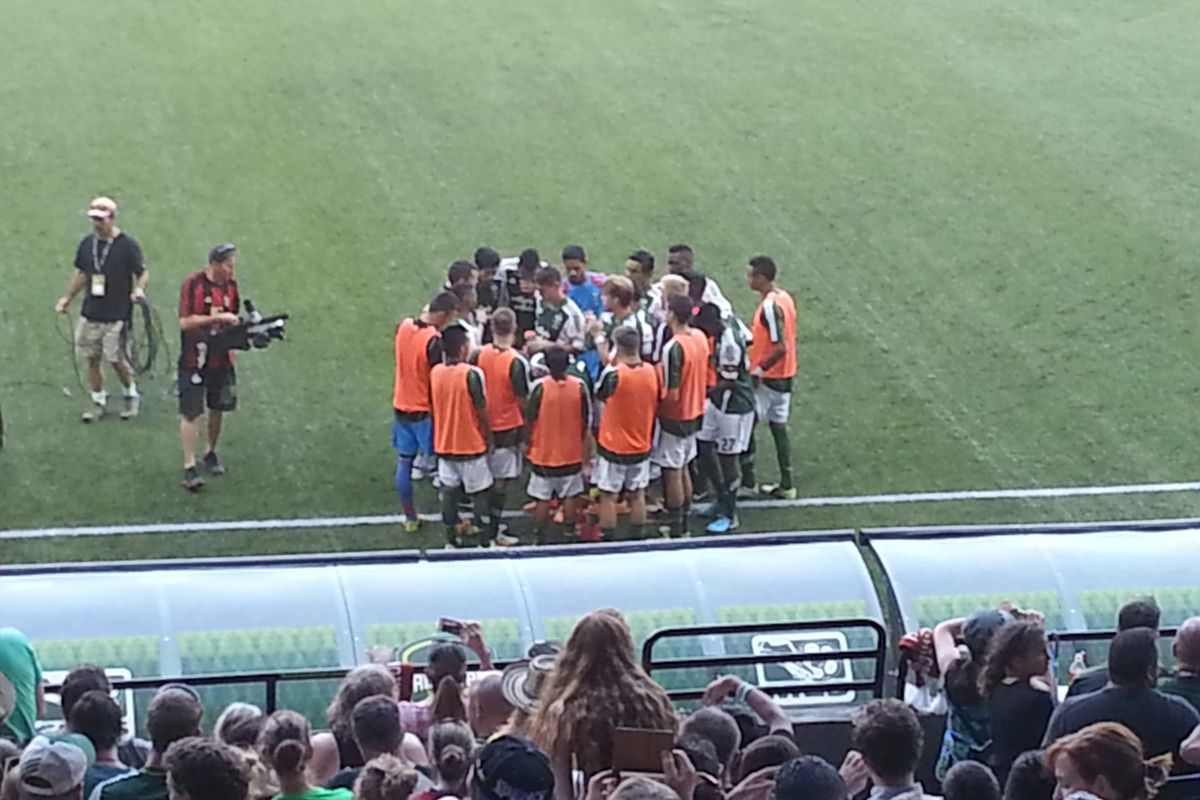 The Timbers U23s huddle prior to their match against the MLS Homegrowns.
