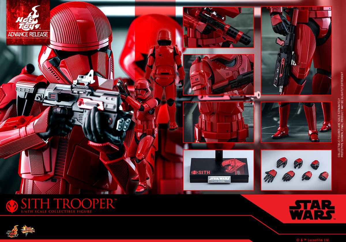 Close-up view of Private Sith Trooper's helmet, as well as his various firearms.