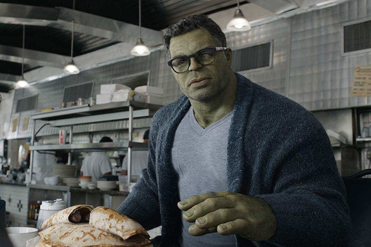 The Hulk at a restaurant.
