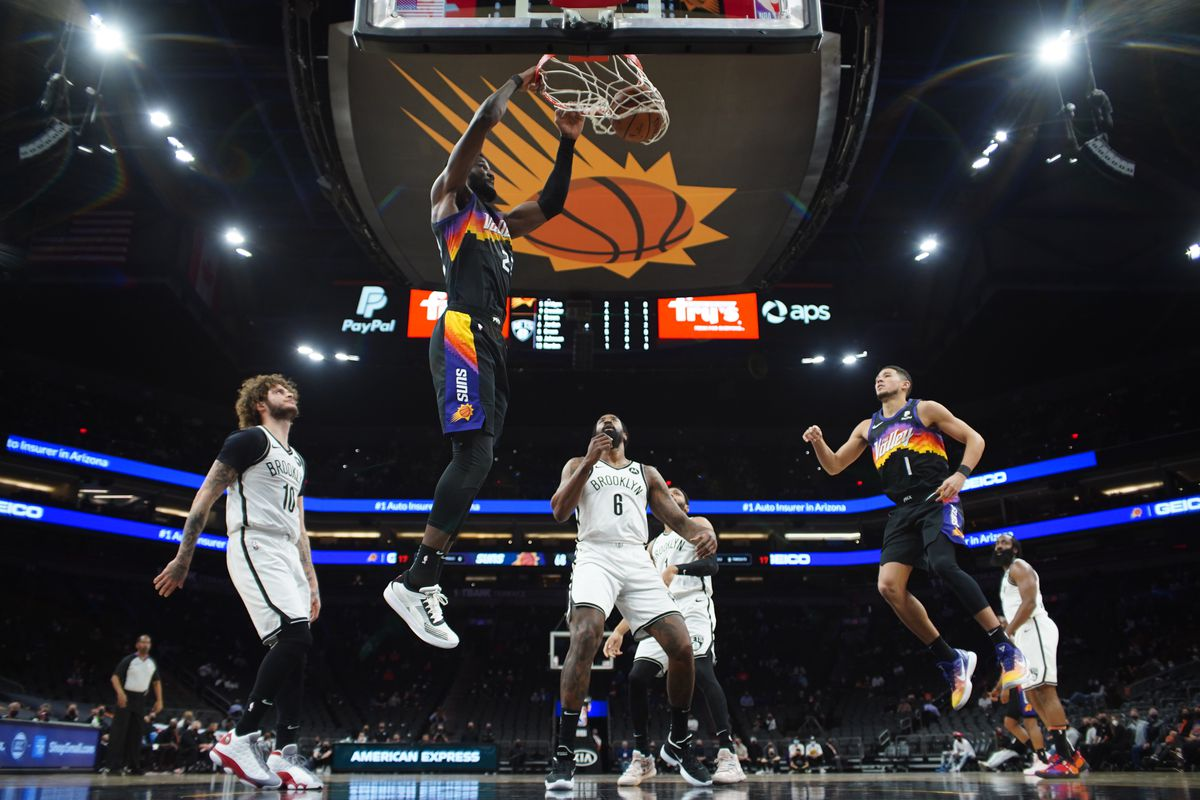 Deandre Ayton #22 of the Phoenix Suns shoots the ball during the game against the Brooklyn Nets on February 16, 2021 at Talking Stick Resort Arena in Phoenix, Arizona.