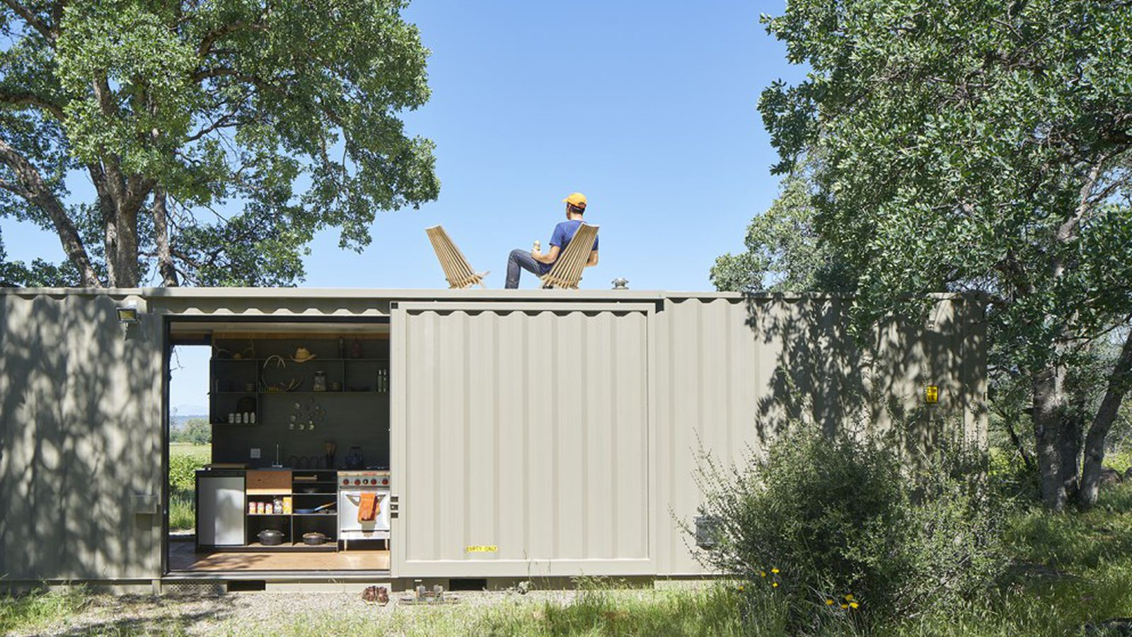 Shipping container cabin goes off grid in california wilderness curbed - Shipping container homes chicago ...