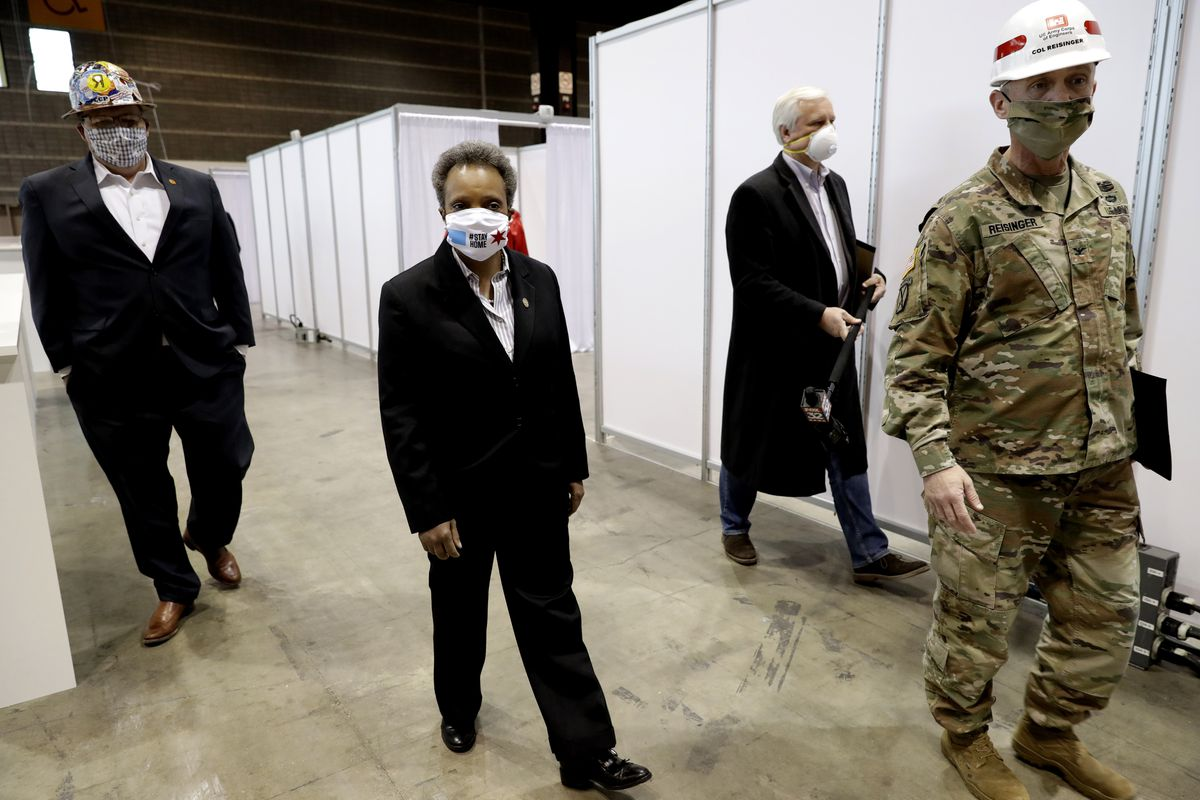 Mayor Lori Lightfoot tours the new McCormick Place alternate care facility on Friday