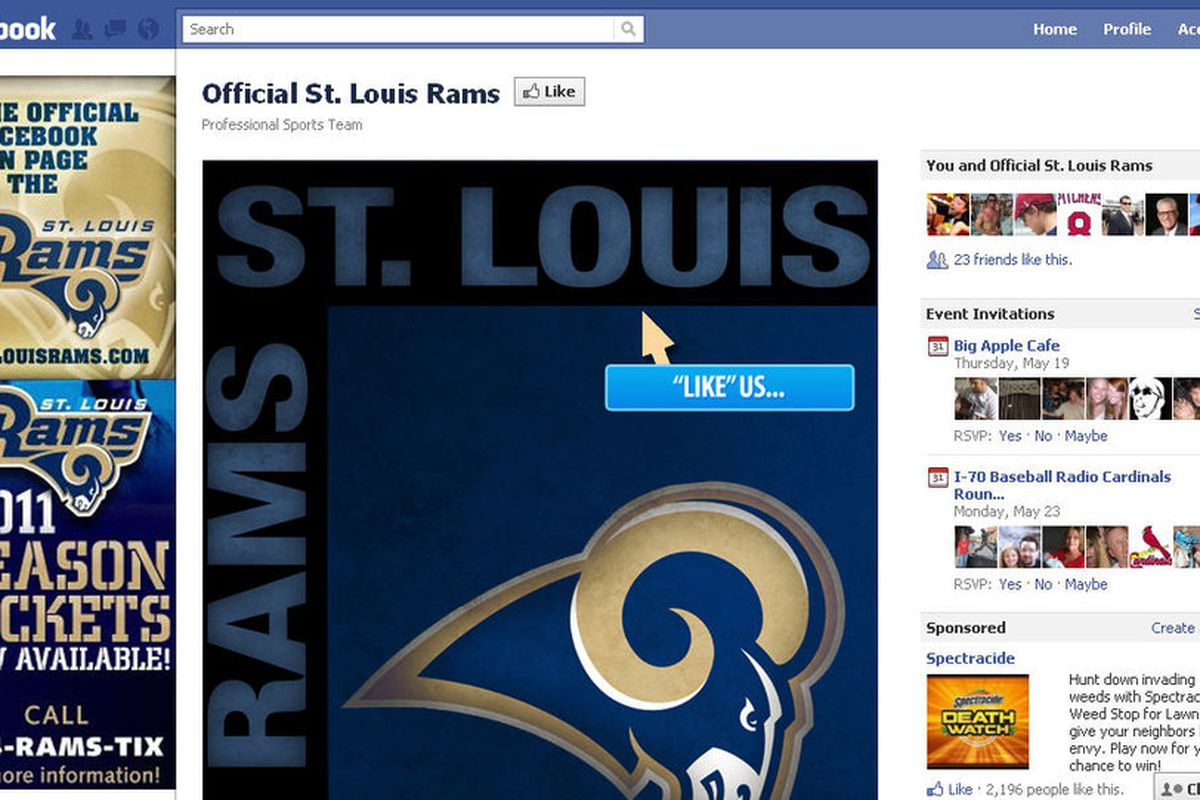 The St. Louis Rams' official Facebook page.