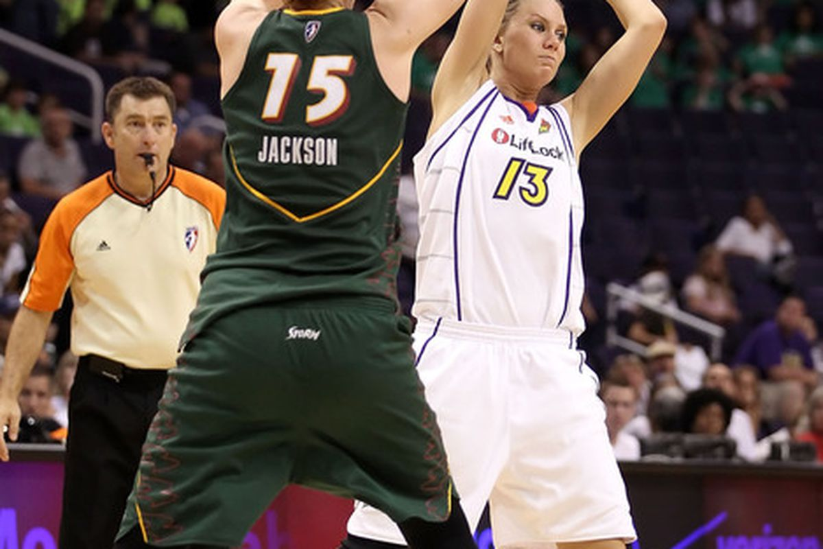 2010 WNBA MVP Lauren Jackson's defensive versatility might play a huge role in the Seattle Storm defending versatile Phoenix Mercury players like Penny Taylor. (Photo by Christian Petersen/Getty Images)