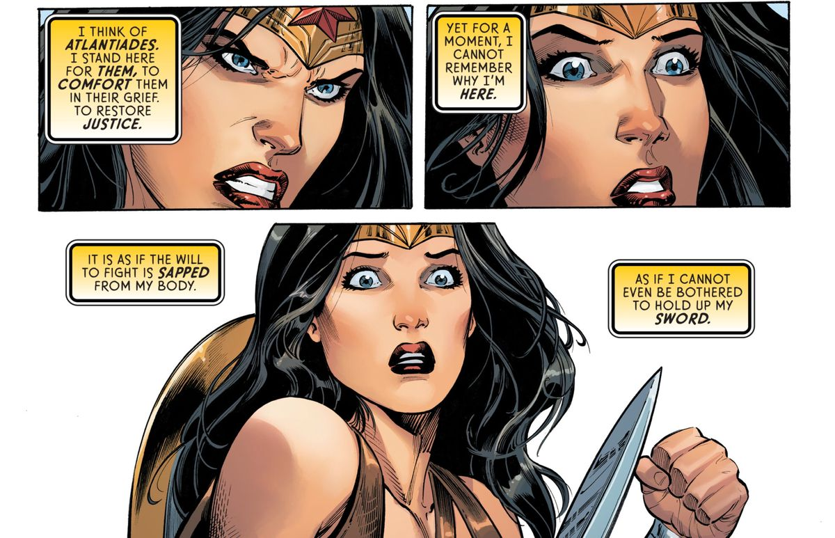 Wonder Woman realizes with horror that something has sapped her of her attachment to her friends, in Wonder Woman #77, DC Comics (2019).