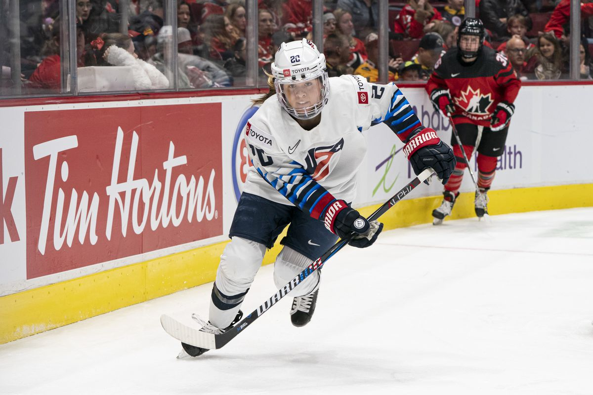 VANCOUVER, BC - FEBRUARY 05: Hannah Brandt #20 of the United States skates during women's hockey action in Game #4 of the 2020 Rivalry Series against Canada at Rogers Arena on February 5, 2020 in Vancouver, Canada.