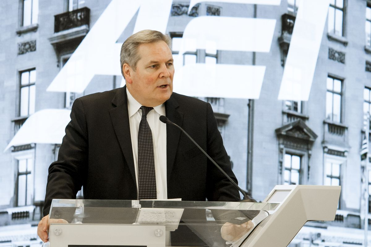 """Deseret News Editor Doug Wilks offers opening remarks during the """"Fifth Annual American Family Survey: Myths about families, plus what Americans really think about paid family leave"""" panel discussion at the American Enterprise Institute in Washington, D.C., on Thursday, Sept. 12, 2019."""
