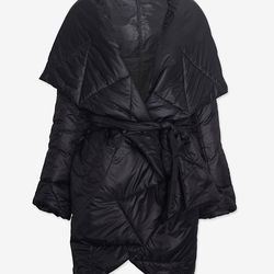 """<a href=""""http://www.intermixonline.com/product/omo+norma+kamali+exclusive+shawl+collar+ripstop+coat-+black.do"""">Omo Norma Kamali shawl collar ripstop coat</a>, $279.50 (was $665)"""
