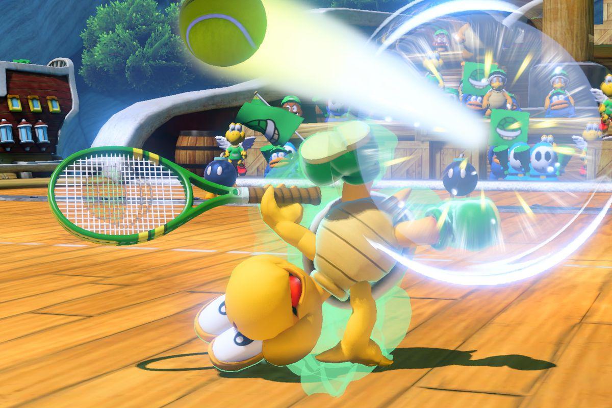 Mario Tennis Aces - Koopa Troopa performing a trick shot