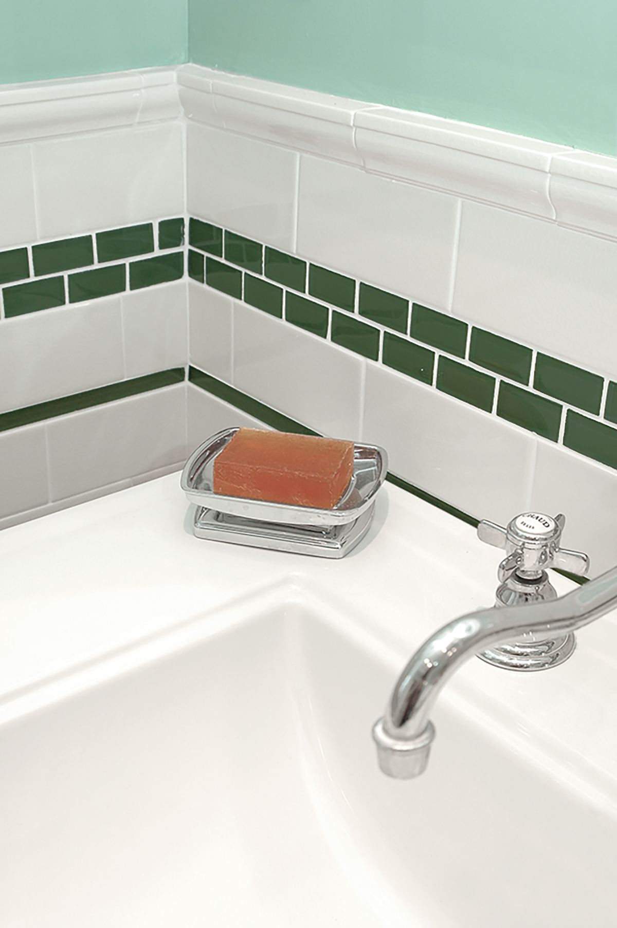 Mixed Borders And Cap Subway Tile Accent