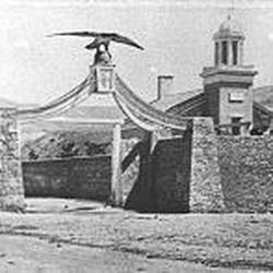 The original Eagle Gate, seen in 1860, was the entrance to Brigham Young's Salt Lake estate.