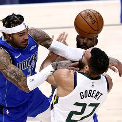 Dallas Mavericks center Willie Cauley-Stein (33) fouls Utah Jazz center Rudy Gobert (27) as the Utah Jazz and the Dallas Mavericks play an NBA basketball game at Vivint Smart Home Arenain Salt Lake City on Wednesday, Jan. 27, 2021.