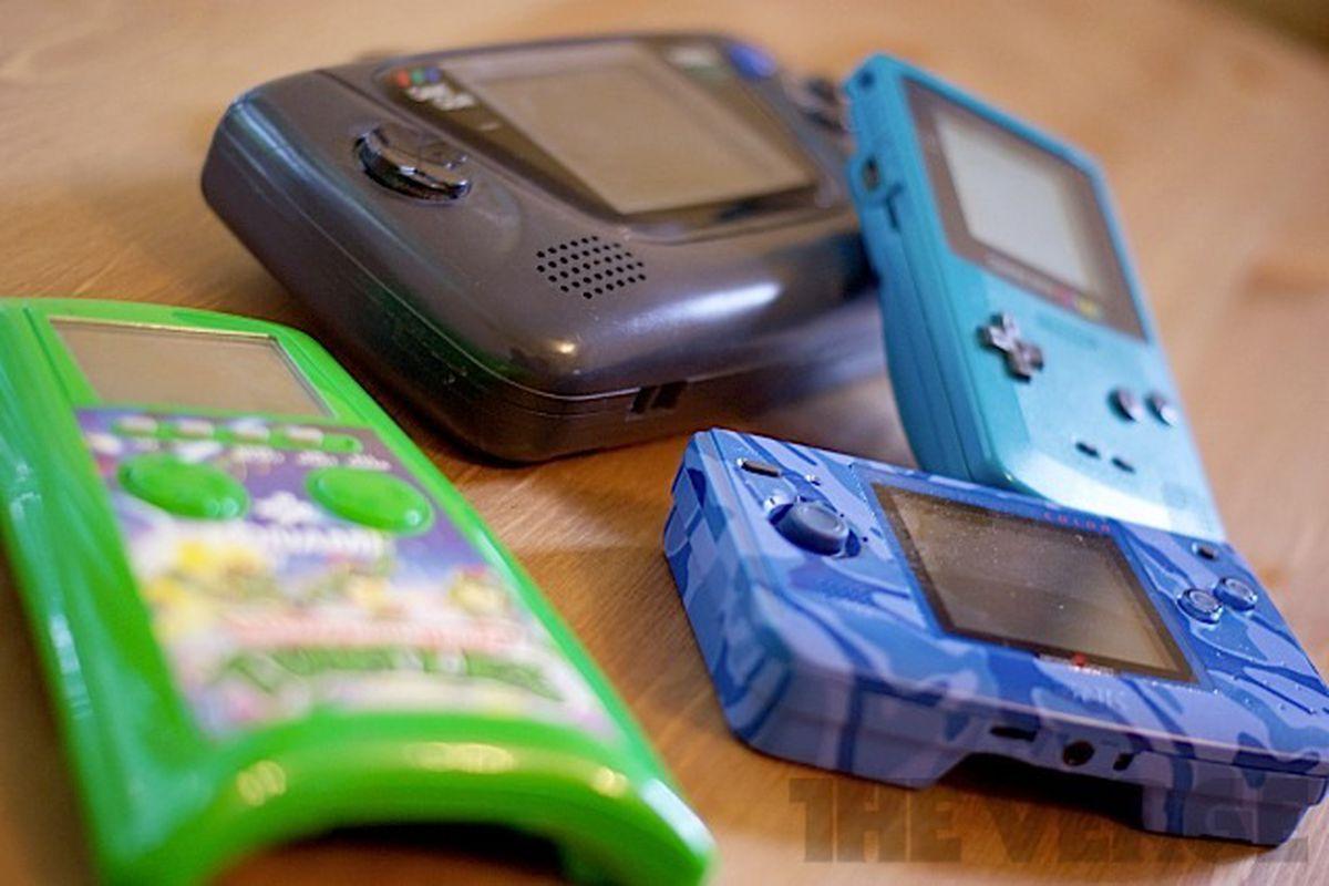Retro video game handhelds (stock)
