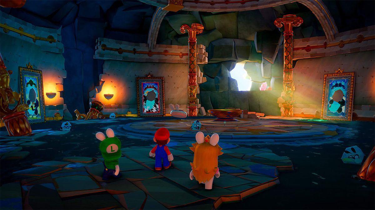 Τα Rabbid Peach, Rabbid Luigi και Mario εξερευνούν ένα εγκαταλελειμμένο κάστρο στο Mario + Rabbids Sparks of Hope