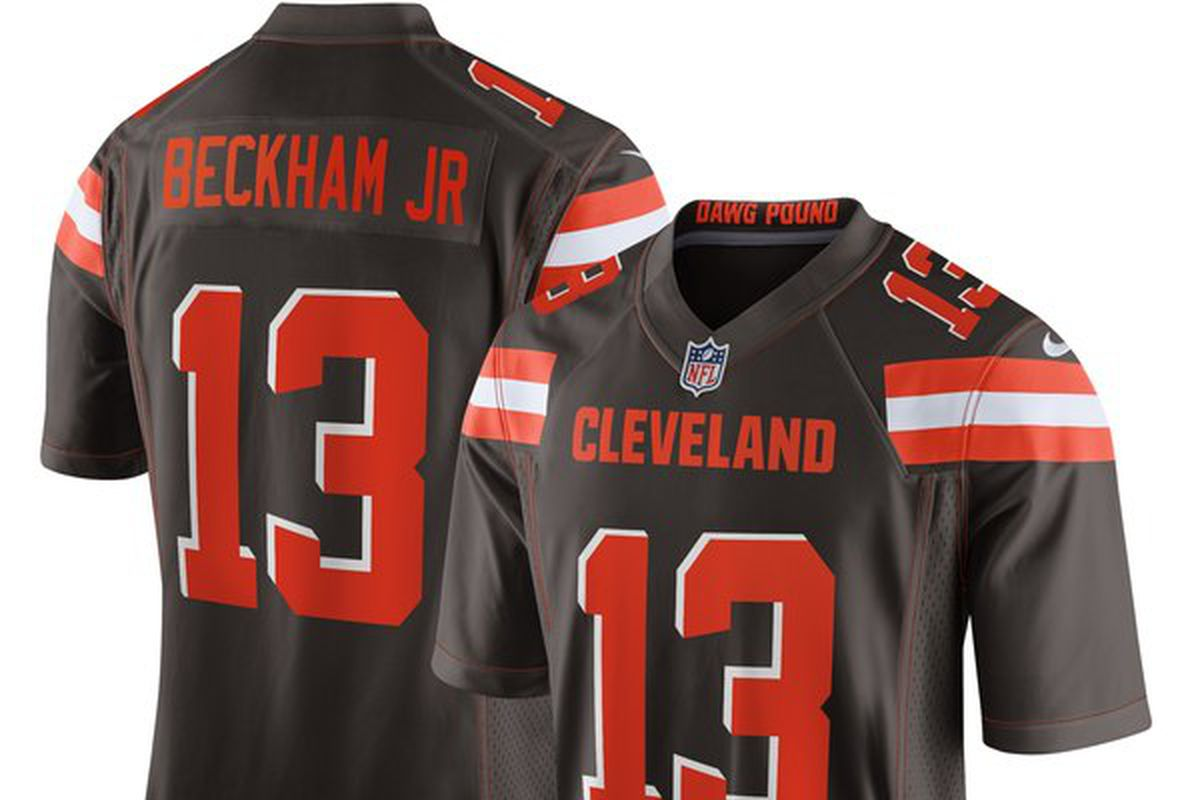 67bbc5314 The Odell Beckham Jr. Cleveland Browns jerseys have dropped online ...