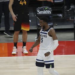 Minnesota Timberwolves guard Malik Beasley (5) cheers after Utah Jazz forward Bojan Bogdanovic (44) is called for a five second inbounding penalty and a chance to tie the game in Salt Lake City on Saturday, Dec. 26, 2020.