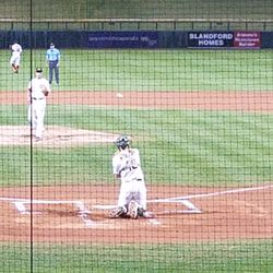 Sean Murphy catches warm-ups before the second inning