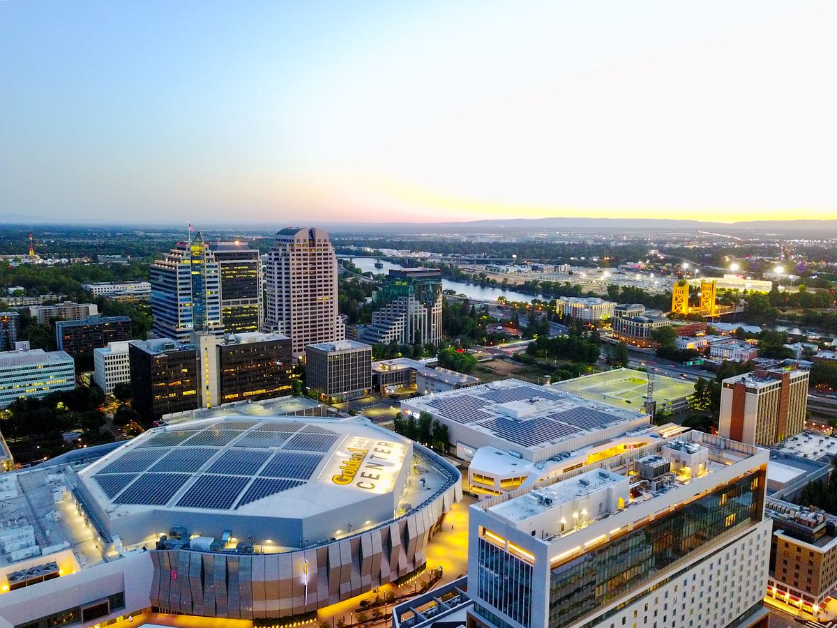 An overhead view of stadiums, hotels and high-rises in downtown Sacramento.
