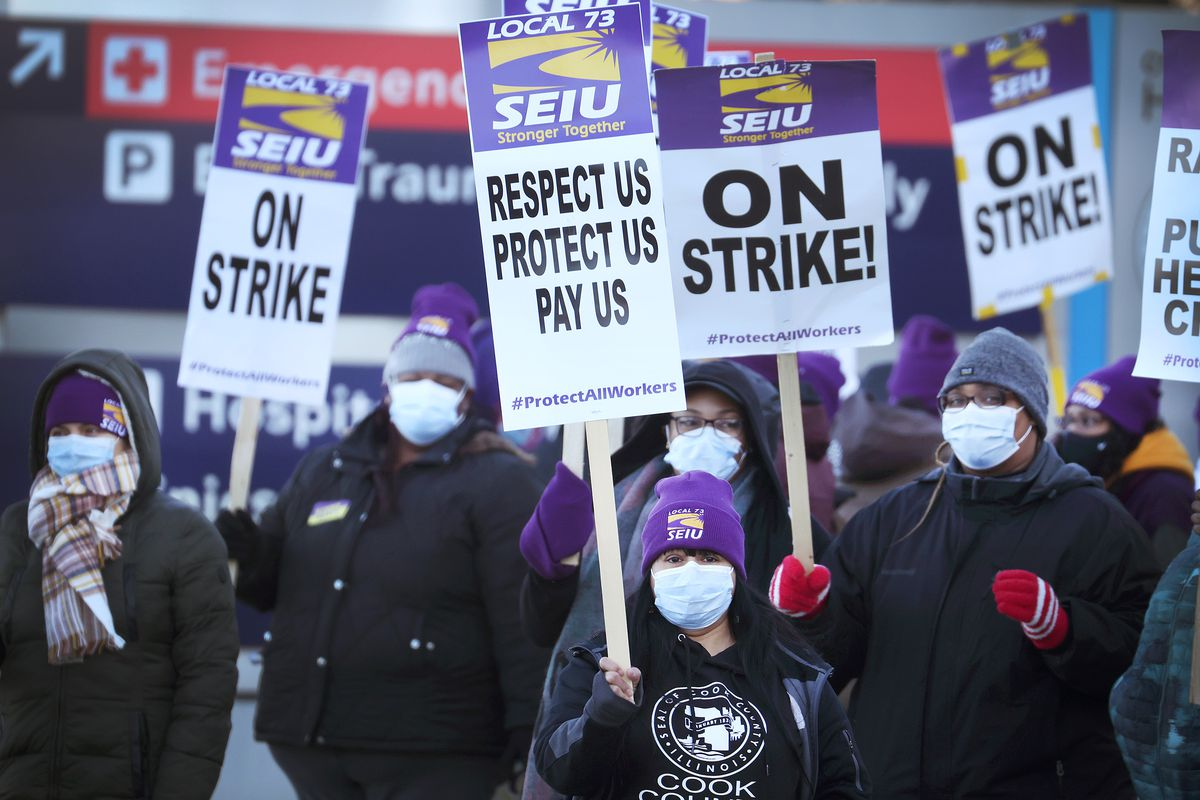 Cook County Essential Workers Hold One-Day Strike In Chicago