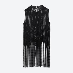 Counter all the intricate details of Zara's lace and fringe top with a crisp black trouser beneath.