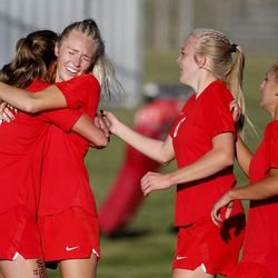 Manti's Ally Squire is hugged by her teammates after scoring against Juab in the 3A high school soccer semifinals at Juan Diego High School in Draper on Wednesday, Oct. 21, 2020.