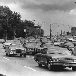 The stretch of Lake Shore Drive near Ohio Street was a notorious bottleneck in 1970.