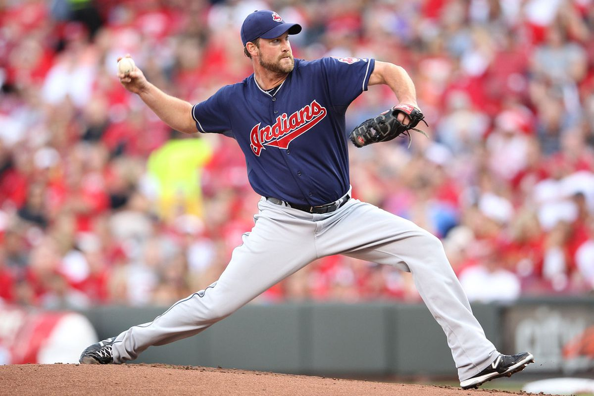 CINCINNATI, OH - JUNE 13:  Derek Lowe #26 of the Cleveland Indians throws a pitch during the game against the Cincinnati Reds at Great American Ball Park on June 13, 2012 in Cincinnati, Ohio.  (Photo by Andy Lyons/Getty Images)