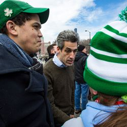 Dan Biss at the 2018 Chicago St. Patrick's Day Parade, Saturday, March 17th, 2018. | James Foster/For the Sun-Times