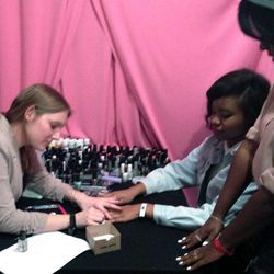 One of the many pampering booths featured nail art