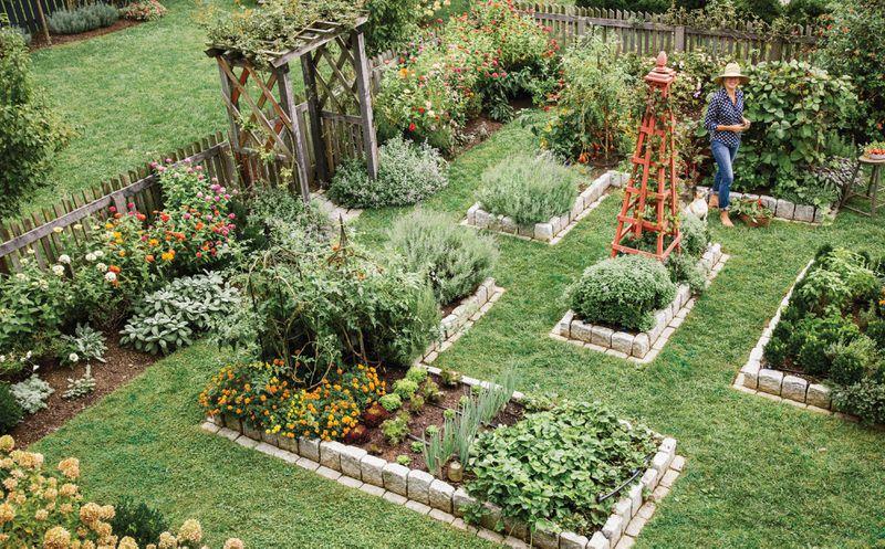 Summer 2021, Landscaping, vegetable and herb garden, Helen Norman inspecting her garden beds