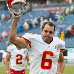 Oct 6, 2013; Nashville, TN, USA; Kansas City Chiefs kicker Ryan Succop (6) prepares to kick a field goal against the Tennessee Titans during the second half at LP Field. The Chiefs beat the Titans 26-17.