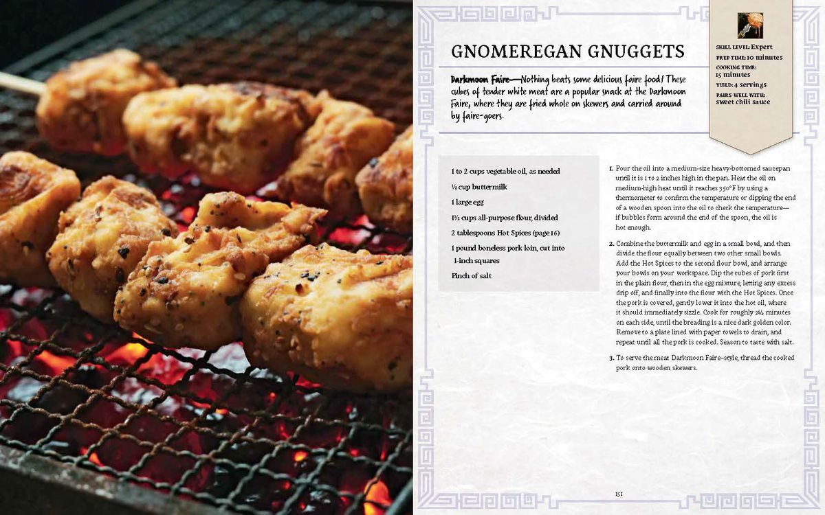 World of Warcraft: New Flavors of Azeroth: The Official Cookbook - a full two-page spread showing the recipe for Gnomergan Gnuggets, including a shot of the food itself
